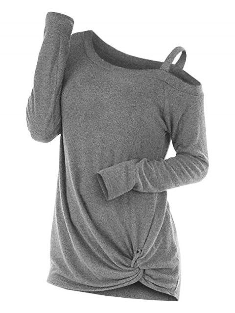 Knotted Cut Out Sweater - LIGHT GRAY L