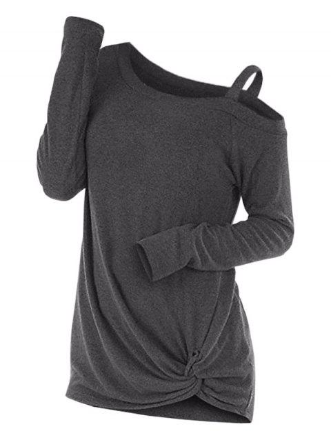 Knotted Cut Out Sweater - DARK GRAY M
