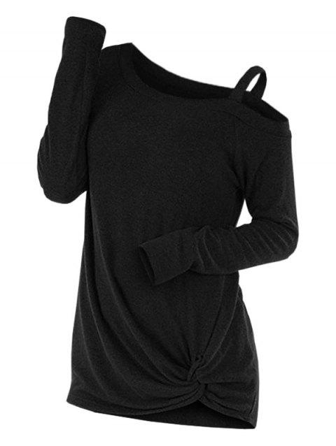 Knotted Cut Out Sweater - BLACK L