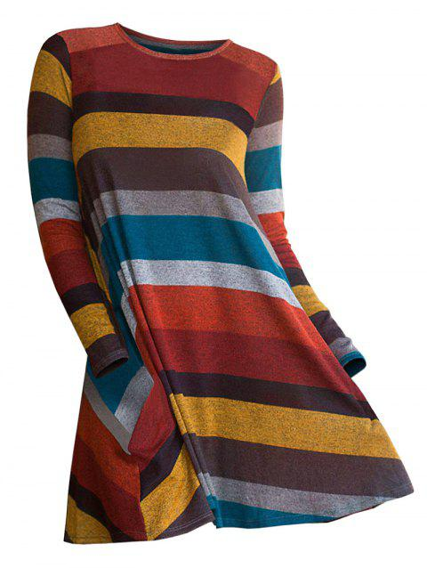 Striped Long Sleeve Pullover Sweater - TIGER ORANGE M