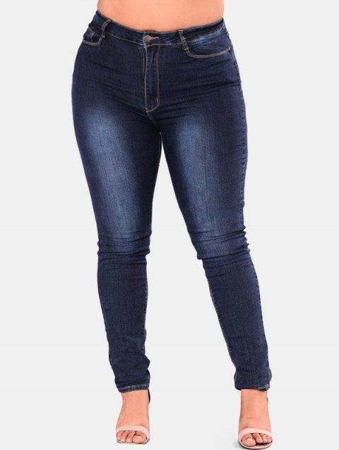 Plus Size High Waisted Skinny Jeans - MIDNIGHT BLUE 2X