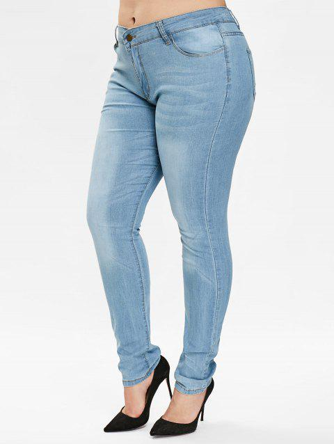 Plus Size Plain Jeans with Zipper Fly - LIGHT BLUE 3X