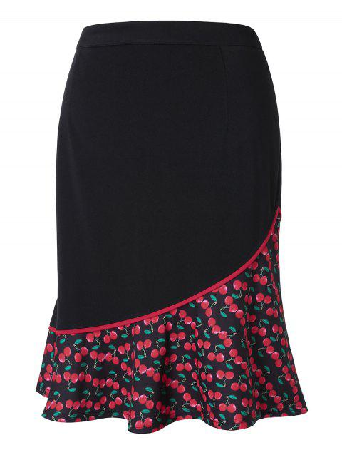 Plus Size Cherry Print Fishtail Skirt - BLACK 4X