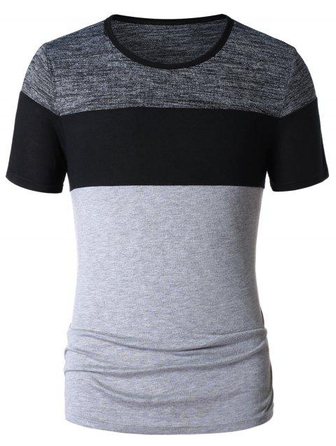 Color Block Space Dye T-shirt - LIGHT GRAY L