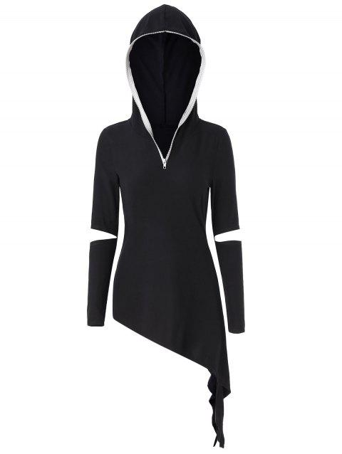 Asymmetrical Cut Out Zip Embellish Punk Hoodie - BLACK L
