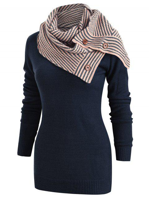 Pullover Sweater with Striped Scarf - MIDNIGHT BLUE XL