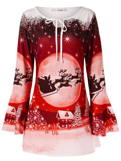 Plus Size Flare Sleeve Christmas Print T-shirt - RUBY RED L