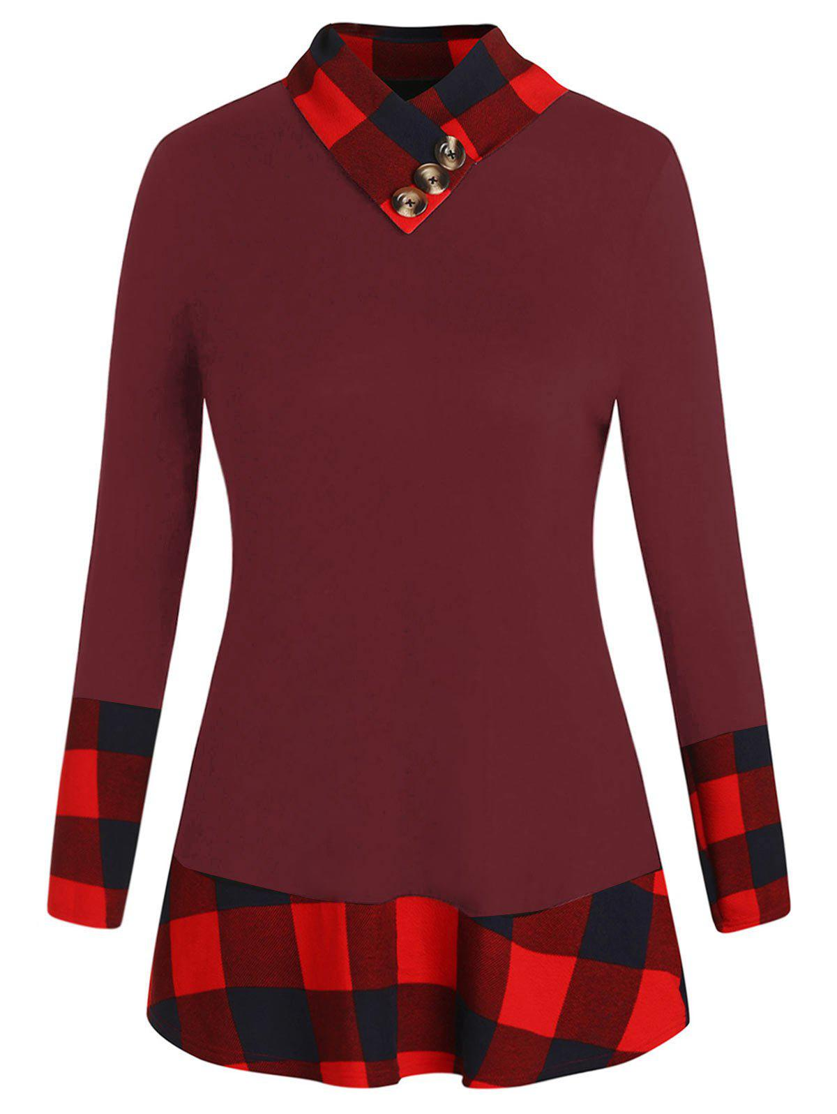 Plus Size Long Sleeve Plaid Panel T-shirt - RED WINE 1X
