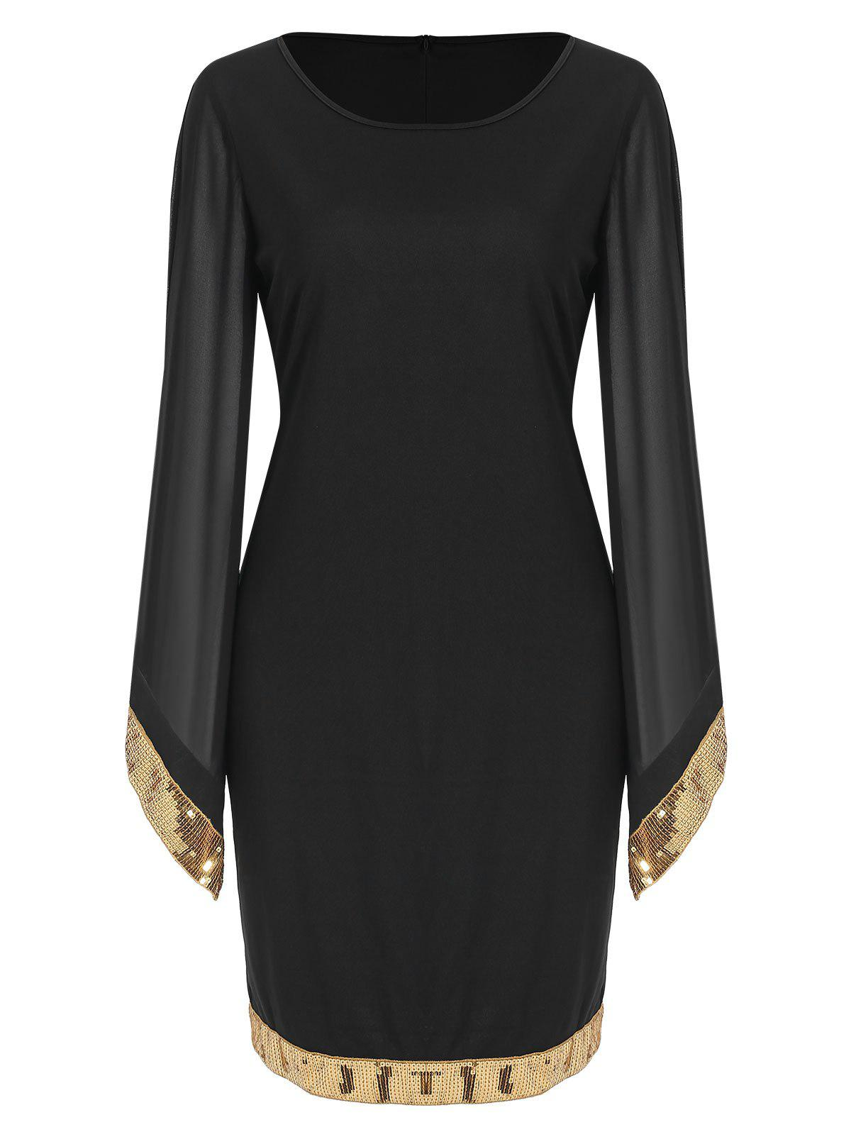 Sequin Panel Long Sleeve Sheath Dress - NIGHT S