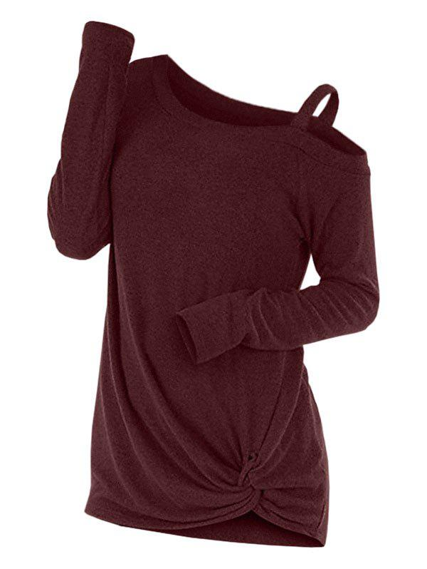 Knotted Cut Out Sweater - RED M