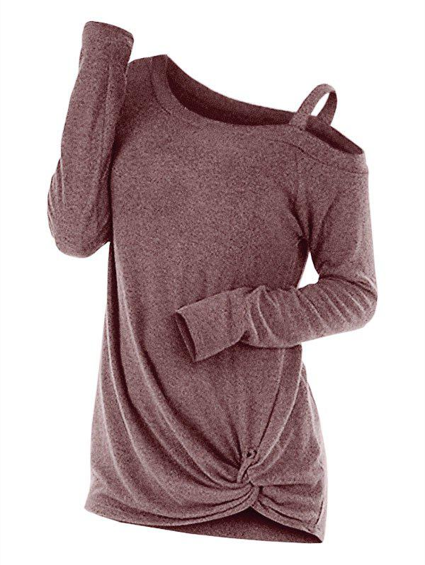 Knotted Cut Out Sweater - COFFEE XL