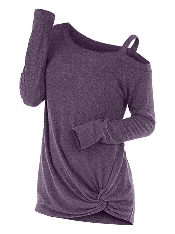 Knotted Cut Out Sweater - PURPLE M