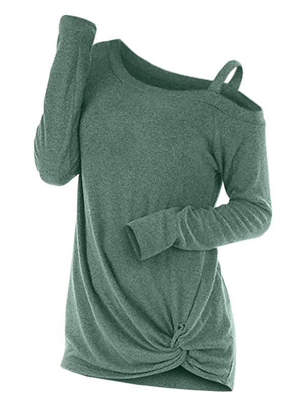 Knotted Cut Out Sweater - GREEN L