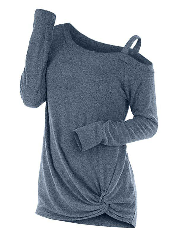 Knotted Cut Out Sweater - BLUE L