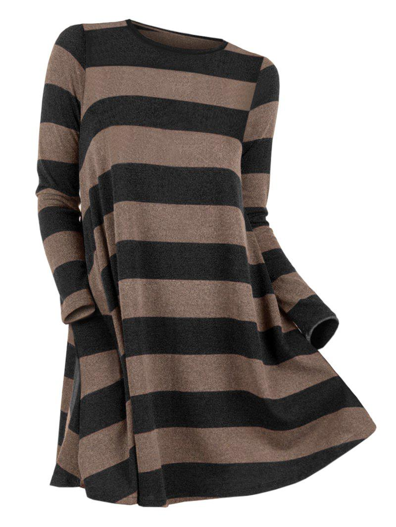 Striped Long Sleeve Pullover Sweater - BLACK M