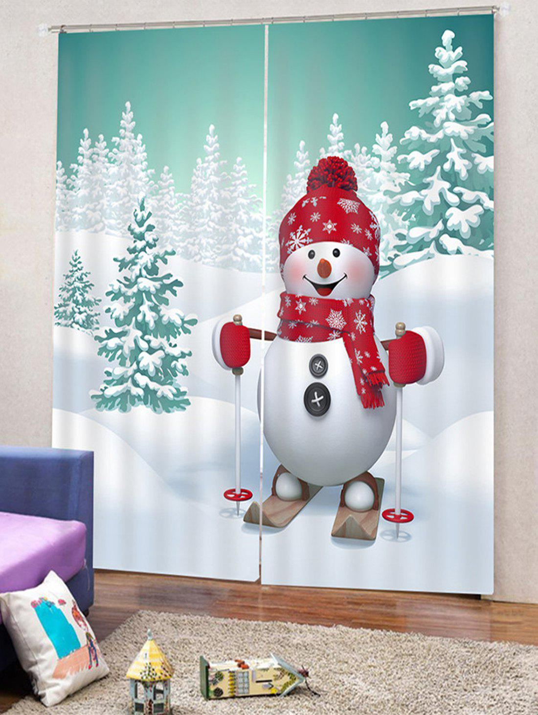2PCS Snowman Pattern Window Curtains - multicolor W28 X L39 INCH X 2PCS