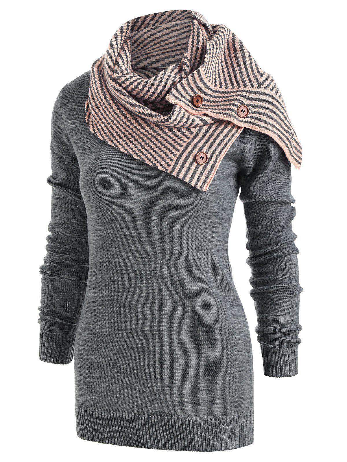 Pullover Sweater with Striped Scarf - GRAY M