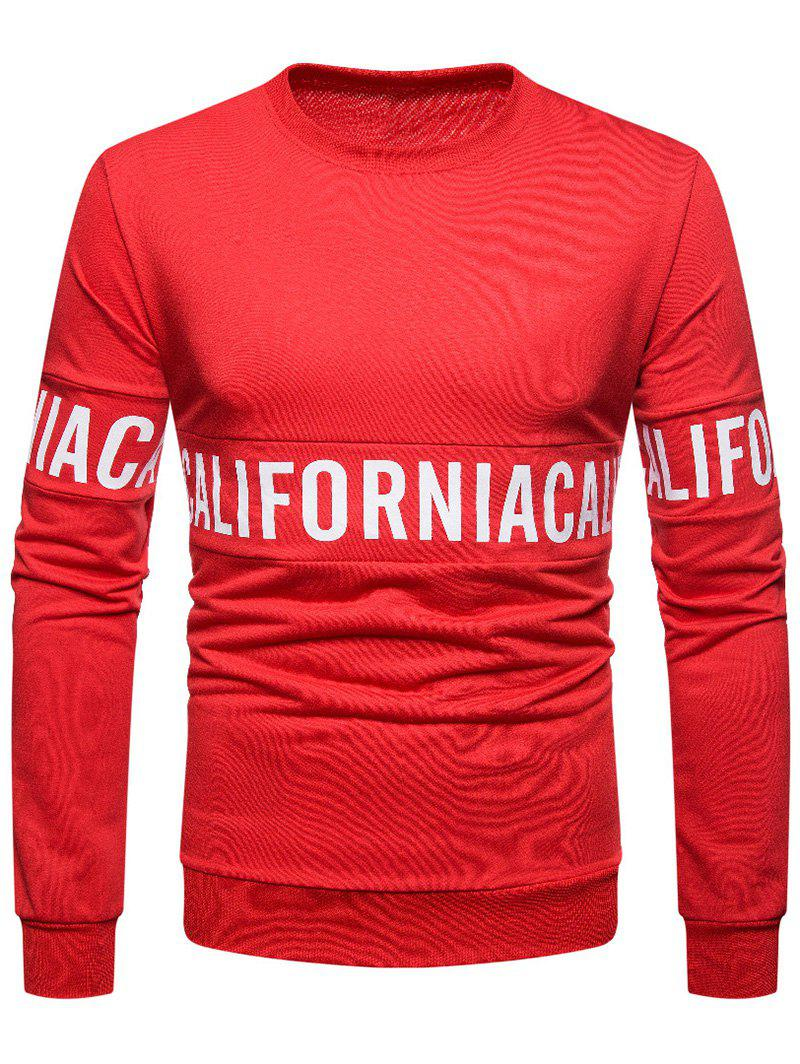 Solid Color Letter Printed Pullover Sweatshirt - RED L