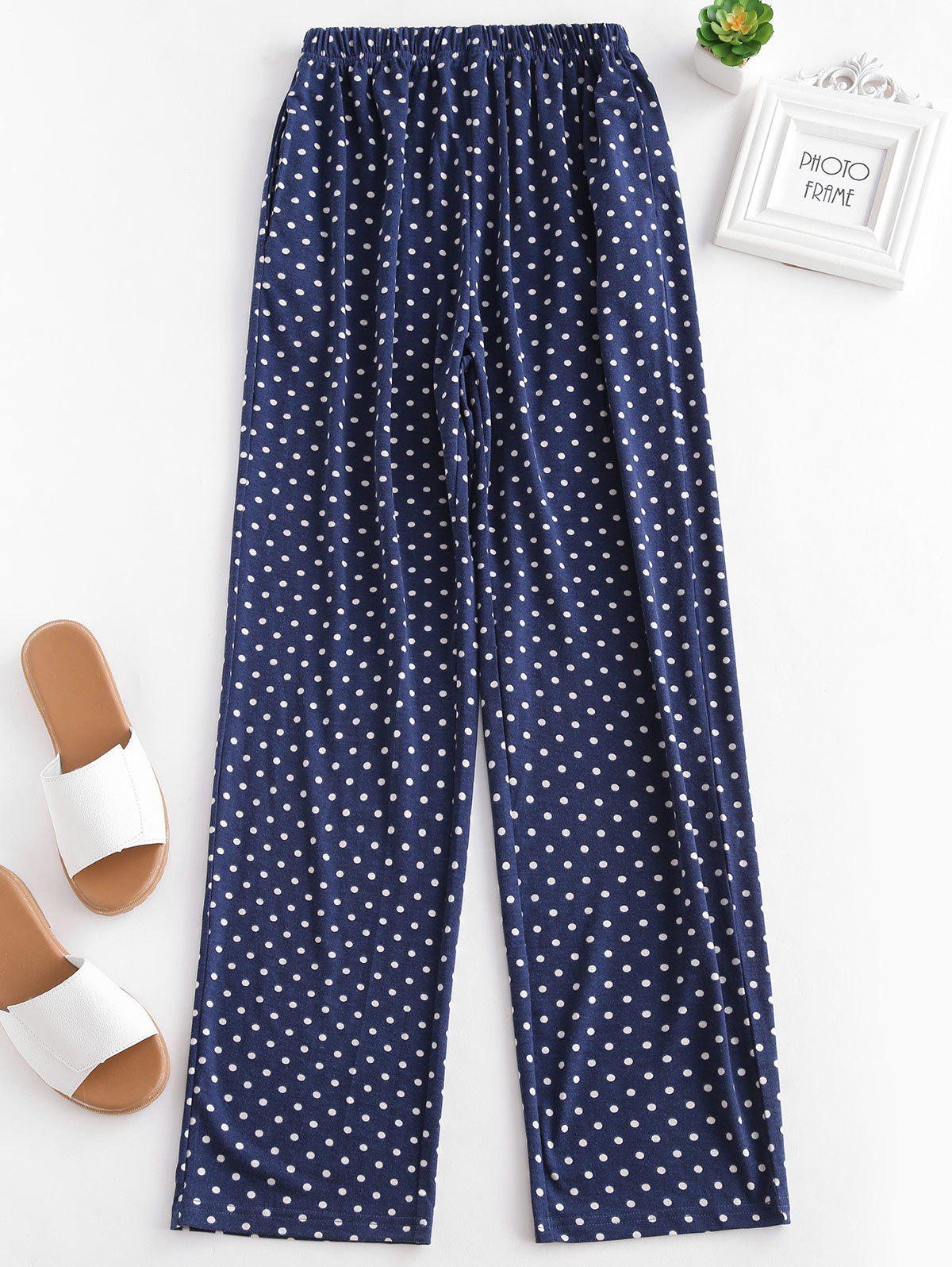 Polka Dot Print Sleeping Pants - CADETBLUE S