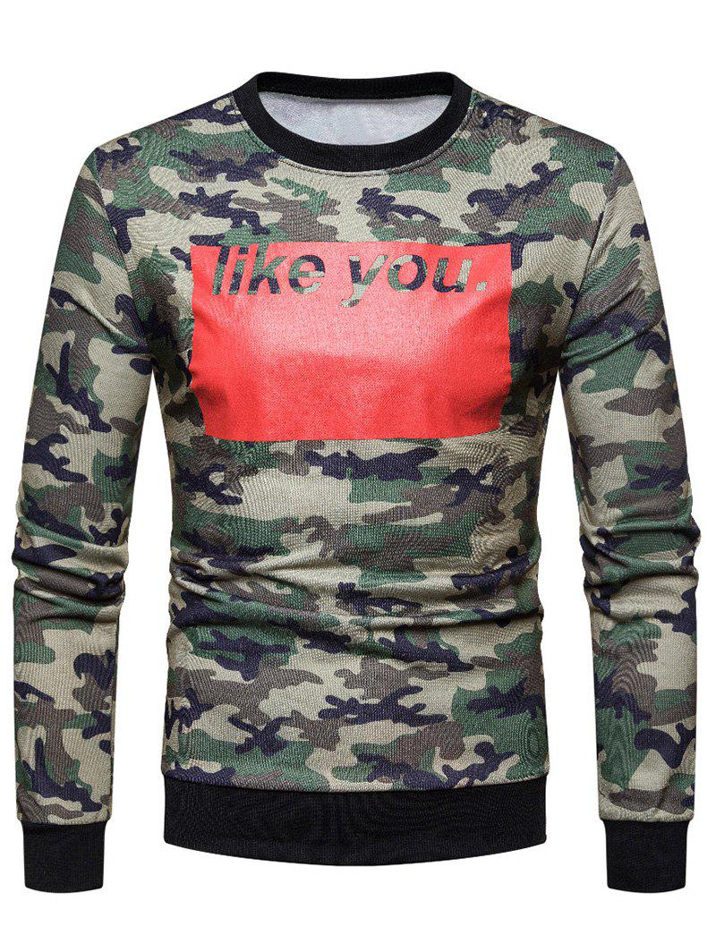 Color Block Letter Printed Camouflage Sweatshirt - ARMY GREEN M