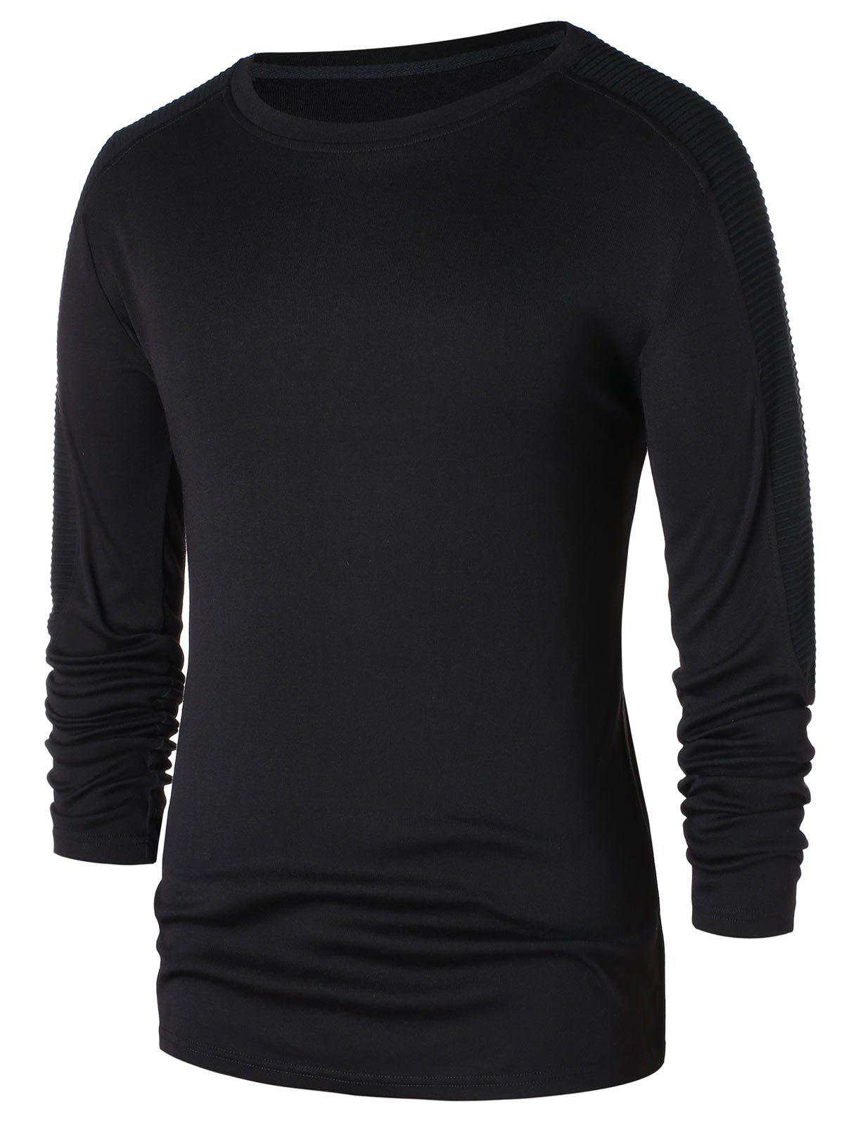 Raglan Sleeve Round Neck T-shirt - BLACK 2XL
