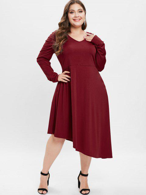 47% OFF] 2019 Plus Size Ruched Asymmetrical Midi Dress In RED WINE ...