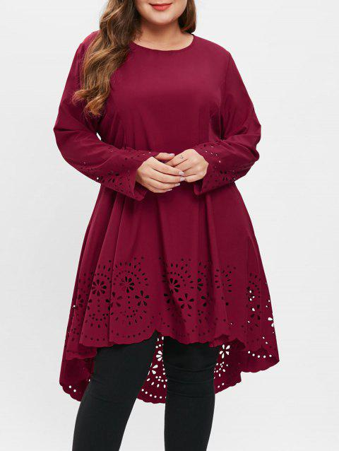 Plus Size Laser Cut High Low Dress - RED WINE 2X