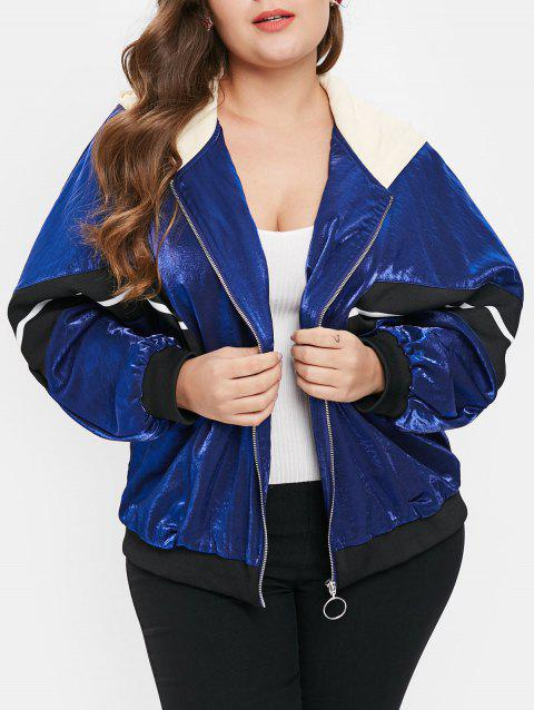 Plus Size Color Block Hooded Jacket with Zipper Fly - BLUE 3X