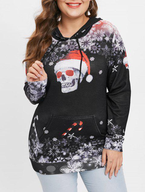 Plus Size Snowflake and Skull Pattern Print Hoodie - multicolor A 1X