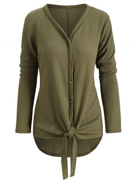 Button Up Knot Front Cardigan - FERN GREEN M