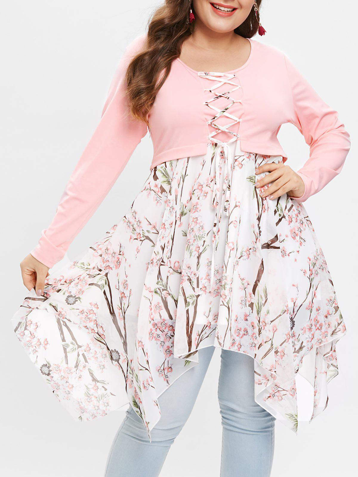 Plus Size Lace Up Peach Blossom Handkerchief T-shirt - LIGHT PINK 5X