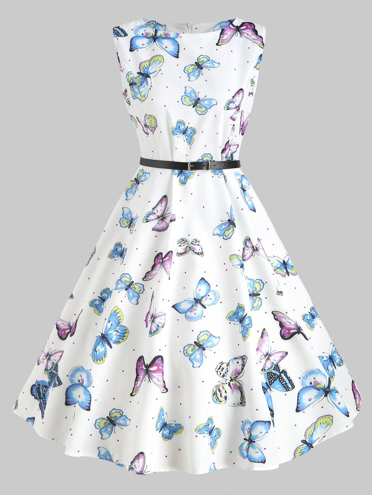 Vintage Butterfly Print Belted Dress - WHITE 2XL