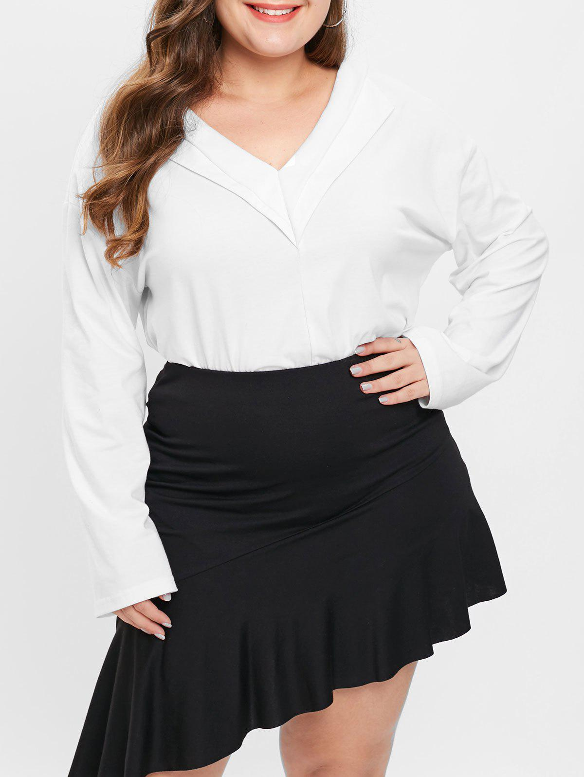 Plus Size V Neck Long Sleeves Solid Color Top
