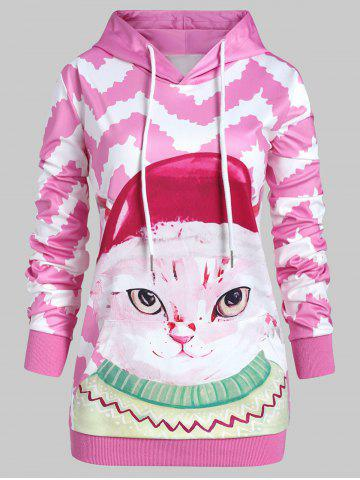 Plus Size 3D Cat Zigzag Pullover Hoodie with Pocket