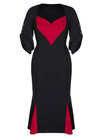 Plus Size Sweetheart Neck Fishtail Dress
