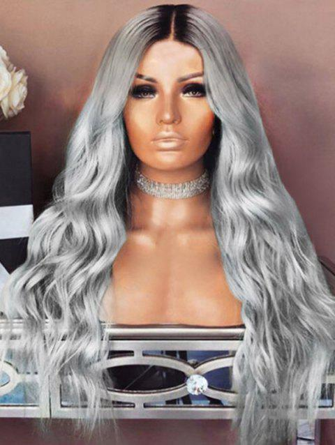 Long Middle Part Colormix Wavy Heat Resistant Synthetic Wig - SILVER