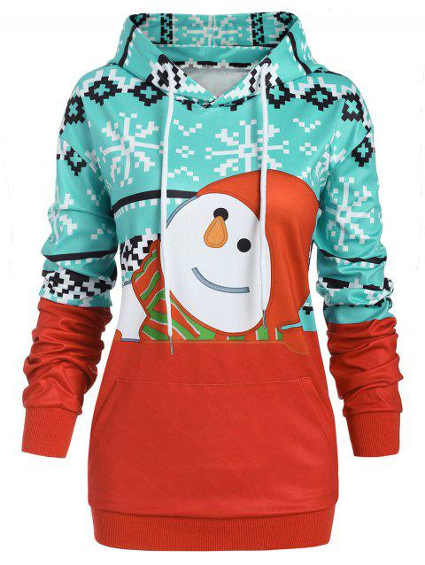 Plus Size Pullover Christmas Graphic Hoodie with Pocket - RED 1X