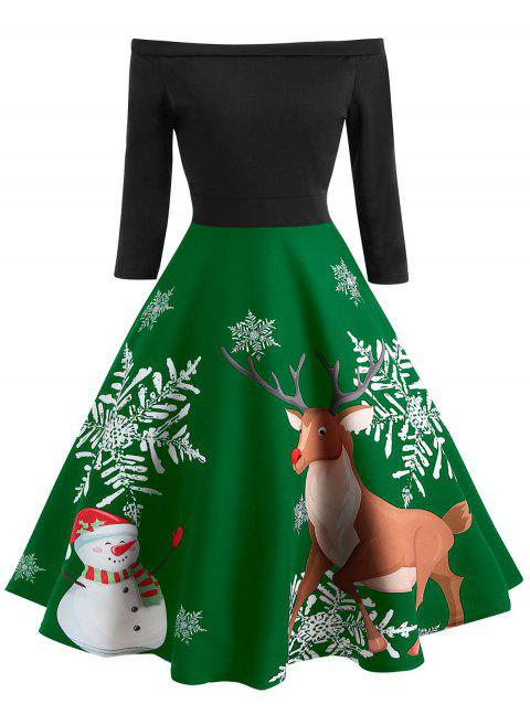 Christmas Elk Print A Line Dress - SHAMROCK GREEN 2XL