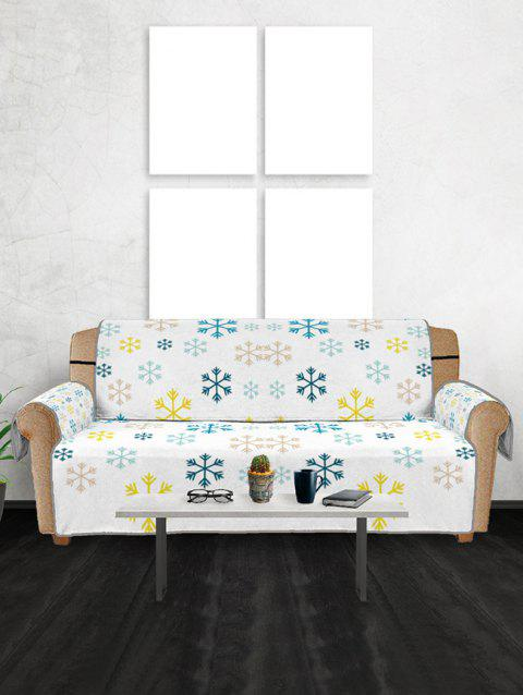 Christmas Snowflakes Pattern Couch Cover - multicolor THREE SEATS