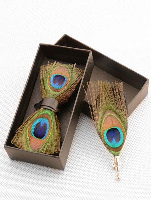 Peacock Feather Pattern Bow Tie Brooch Set - GREEN YELLOW