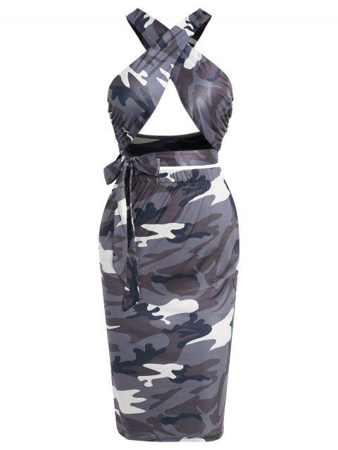Camouflage Print Two Piece Dress - WOODLAND CAMOUFLAGE M