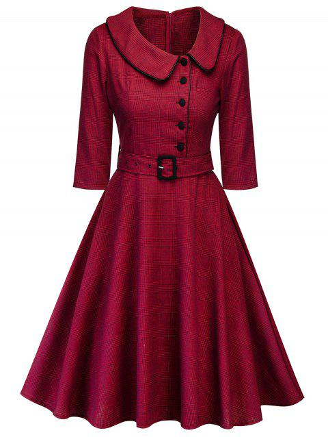 Plus Size Plaid A Line Dress with Belt - RED 3X