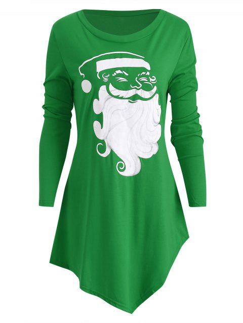 Asymmetrical Santa Claus Christmas T-shirt - YELLOW GREEN M