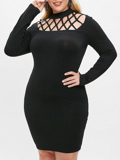 Plus Size Hollow Out Bodycon Dress - BLACK 1X