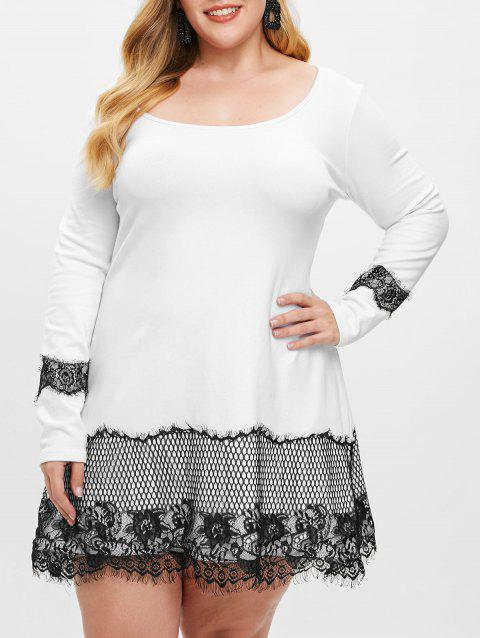 Plus Size Floral Lace Panel Mini Dress