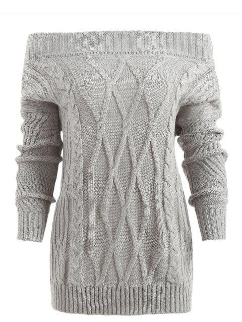 Off Shoulder Geometric Pullover Sweater - LIGHT GRAY S