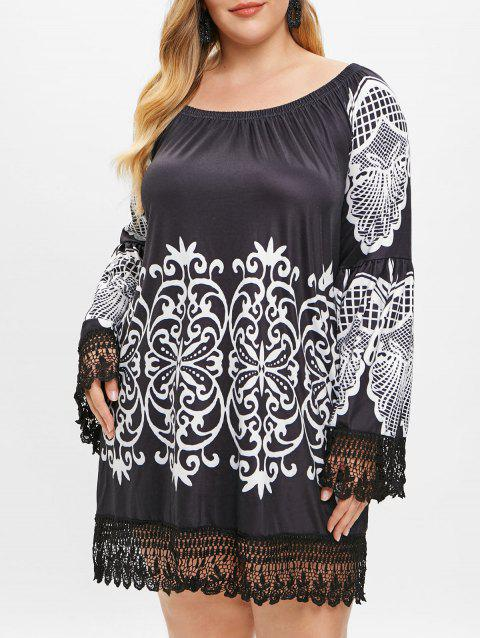 Plus Size Off The Shoulder Tribal Print Dress