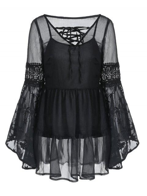 Flare Sleeve Lace-up Embroidered Blouse - BLACK S