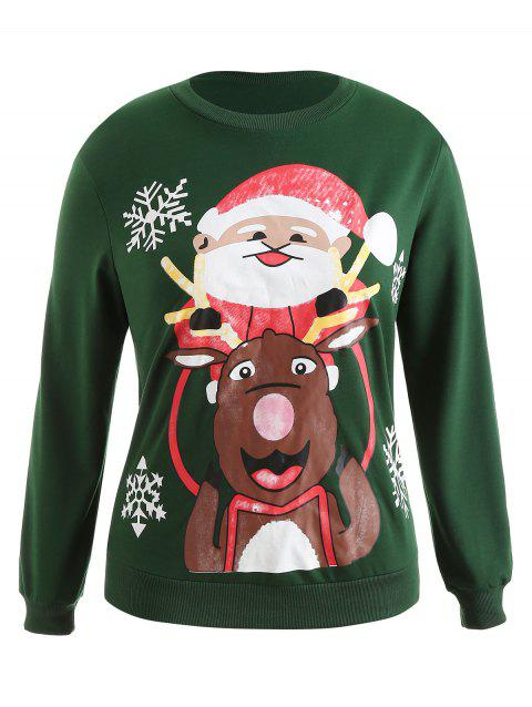 Plus Size Pullover Christmas Graphic Sweatshirt - DEEP GREEN L