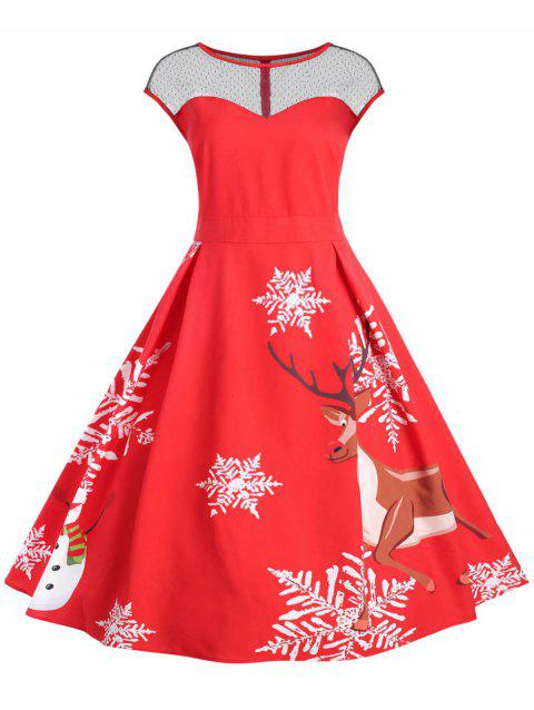 Plus Size Lace Panel Vintage Christmas Flare Dress - RED 5X